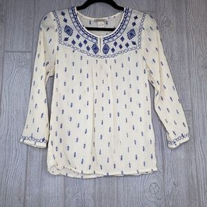 Lucky Brand Long Sleeve Embroidered Tunic Top